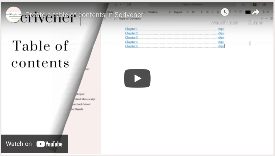 In this video I share an easy way to create a clickable table of contents in Scrivener