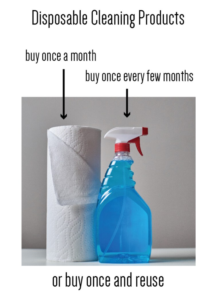 disposable product examples - roll of toilet paper and bottle of cleaning product