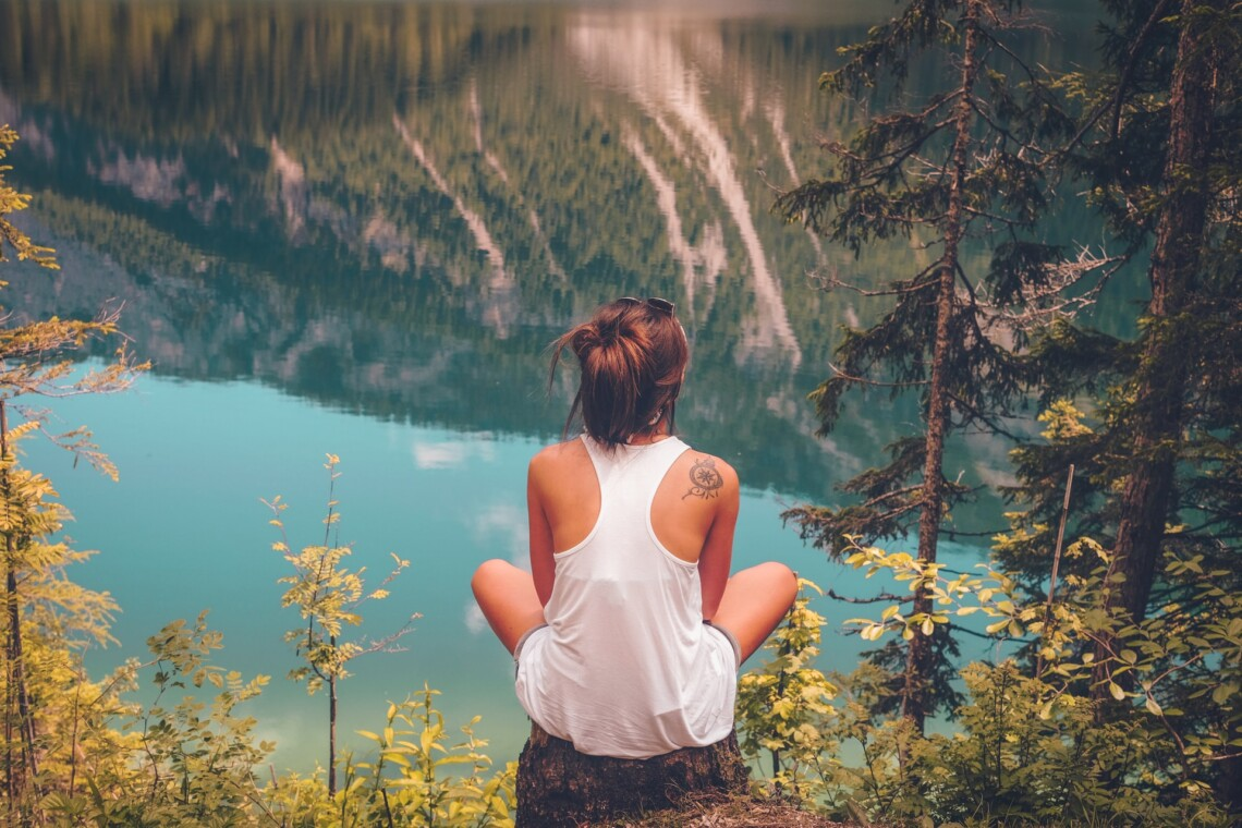 A woman sits with her back to the camera on a tree stump looking out over a lake and mountains. She looks thoughtful.