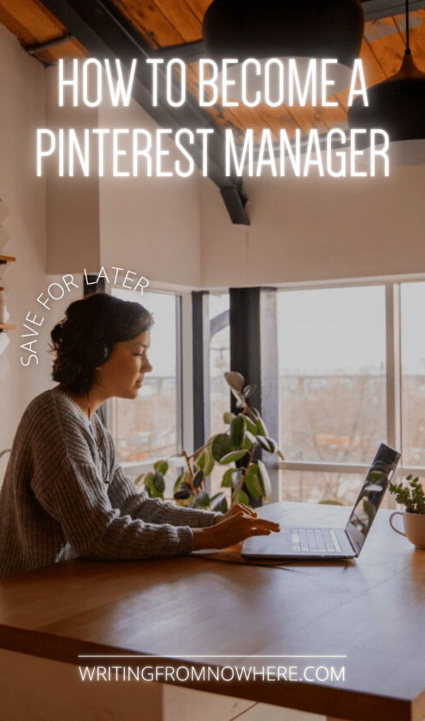 """woman working at kitchen table on laptop. Text atop the photo reads """"how to become a Pinterest manager, save for later"""""""
