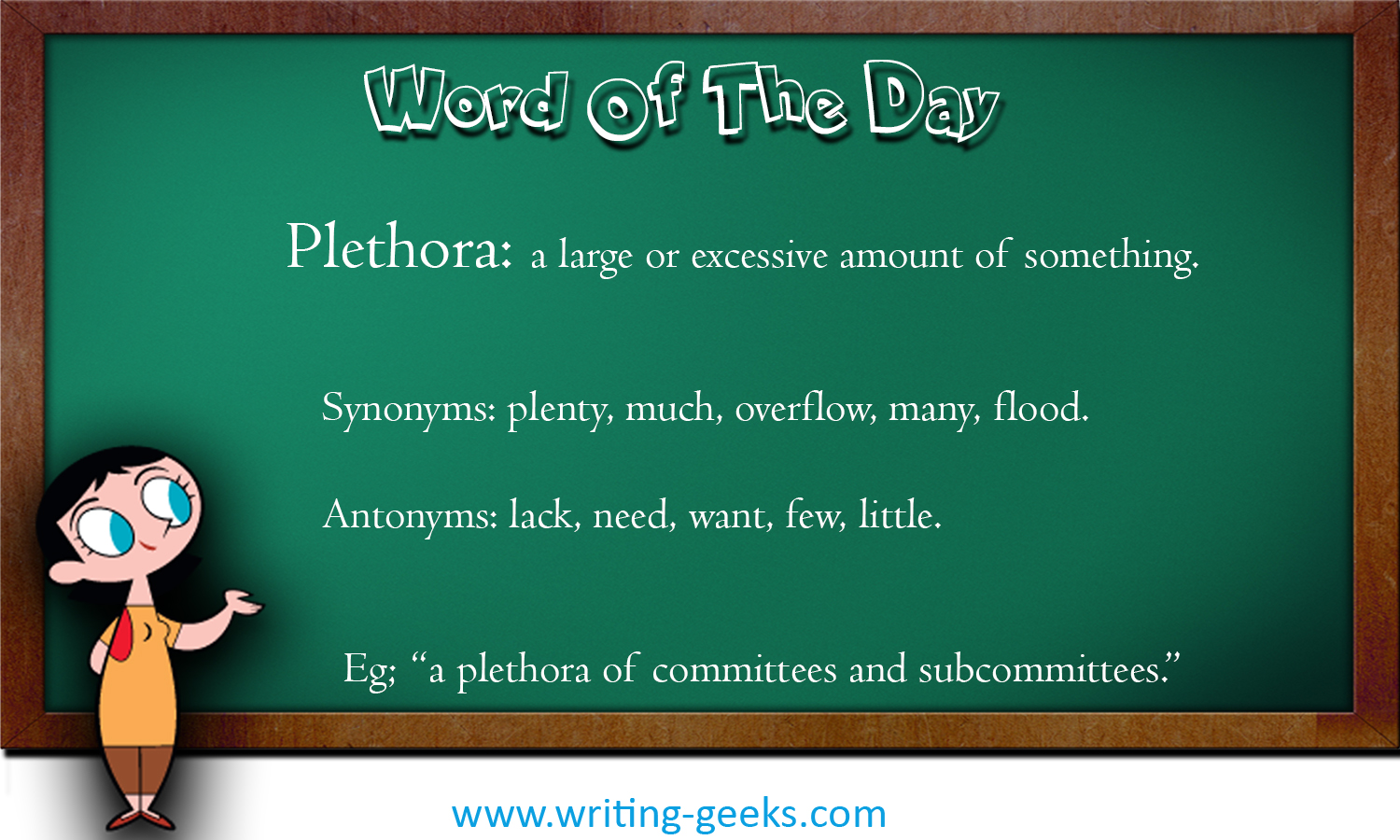Plethora Writing Geeks Our thesaurus contains synonyms of plethora in 15 different contexts. plethora writing geeks