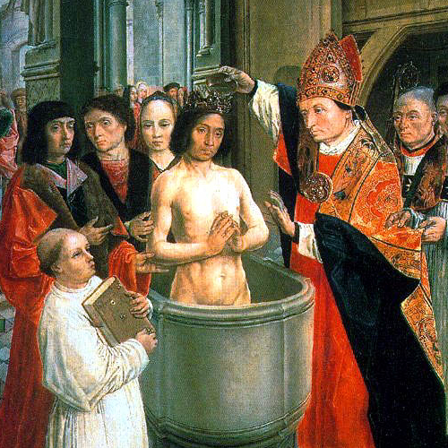 The Ritual of Baptism — Saint Remigius baptizes Clovis I, represented by the Master of Saint Gilles c. 1500
