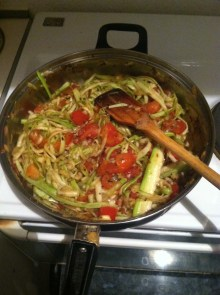 8. Let it cook for another three minutes or until the zoodles are heated through.