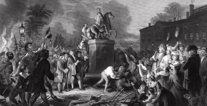 Pulling Down Statue of George III - Painter Unknown