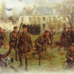 Meeting of the 2nd Worcestershire with 1st South Wales Borderers in the grounds of Chateau — painting by J P Beadle