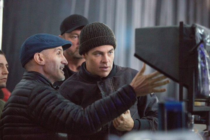 Director Craig Gillespie with Chris PIne on the set of Disney's THE FINEST HOURS, a heroic action-thriller based on the most daring rescue in the history of the U.S. Coast Guard.