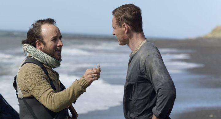 Derek Cianfrance and Michael Fassbender on the set of THE LIGHT BETWEEN OCEANS, written and directed by Derek Cianfrance and based on the acclaimed novel by M. L. Steadman.