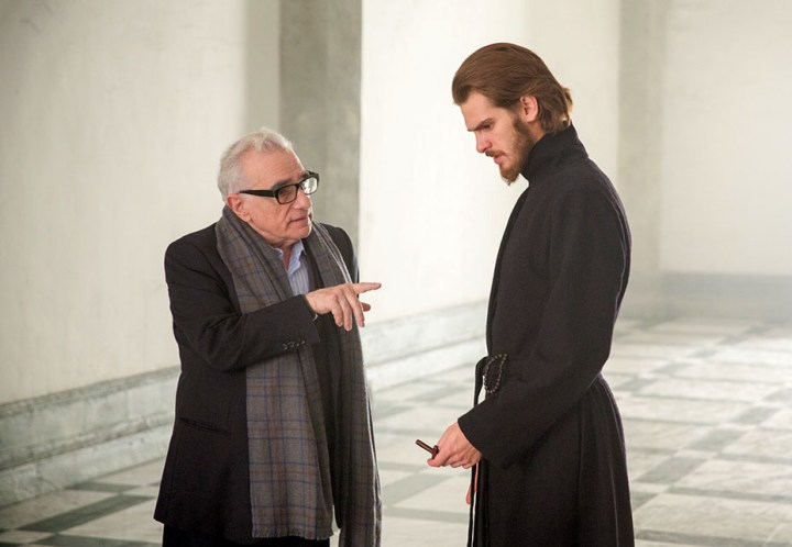 Director, Martin Scorsese and Andrew Garfield on the set of the film SILENCE by Paramount Pictures, SharpSword Films, and AI Films by Paramount Pictures, SharpSword Films, and AI Films
