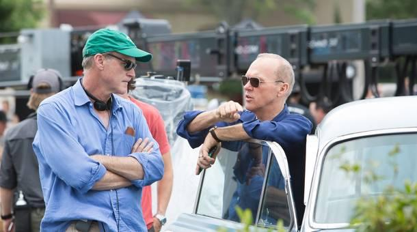 John Lee Hancock on the set of The Founder with actor Michael Keaton.
