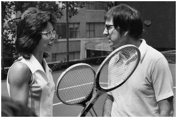 Billie Jean King and former men's champ Bobby Riggs