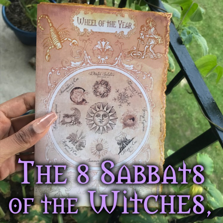 Printable wheel of the year pagan calendar of the 8 sabbats of witches for your DIY grimoire or book of shadows journal.