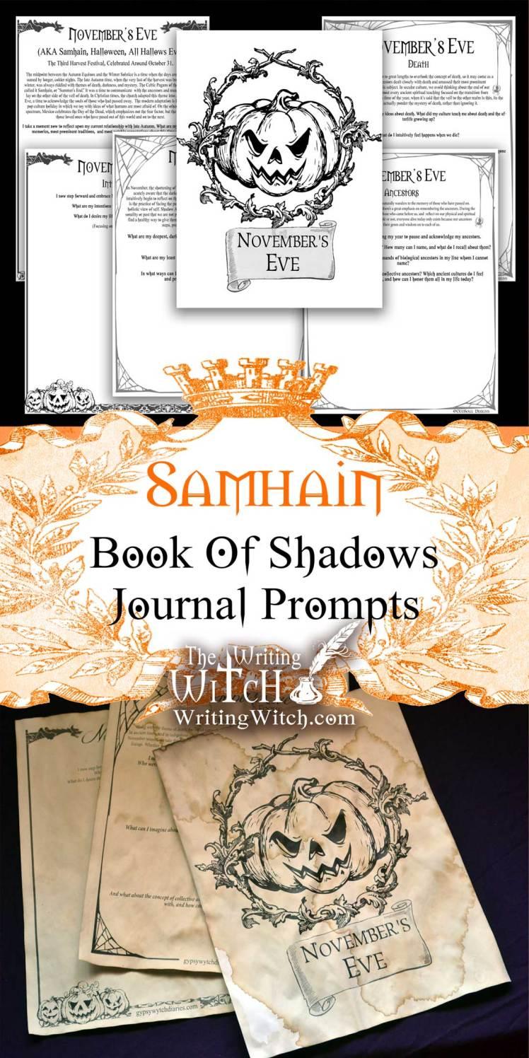 samhain journal prompt printable sheets
