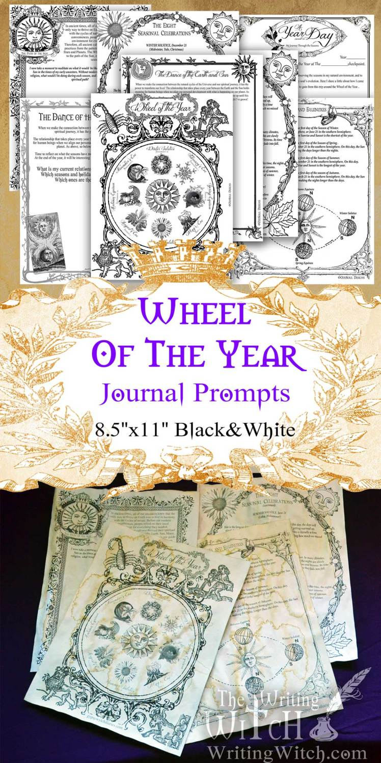 printable wheel of the year journal prompts large black and white