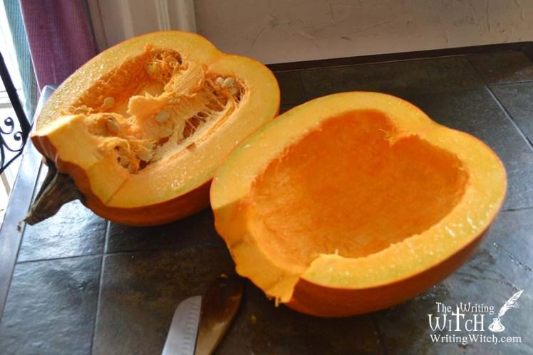 pumpkin sliced in half