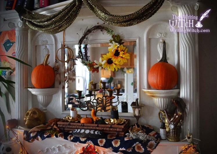 pumpkin symbolism on a witch altar
