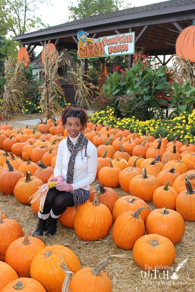 woman at a harvest festival pumpkin farm