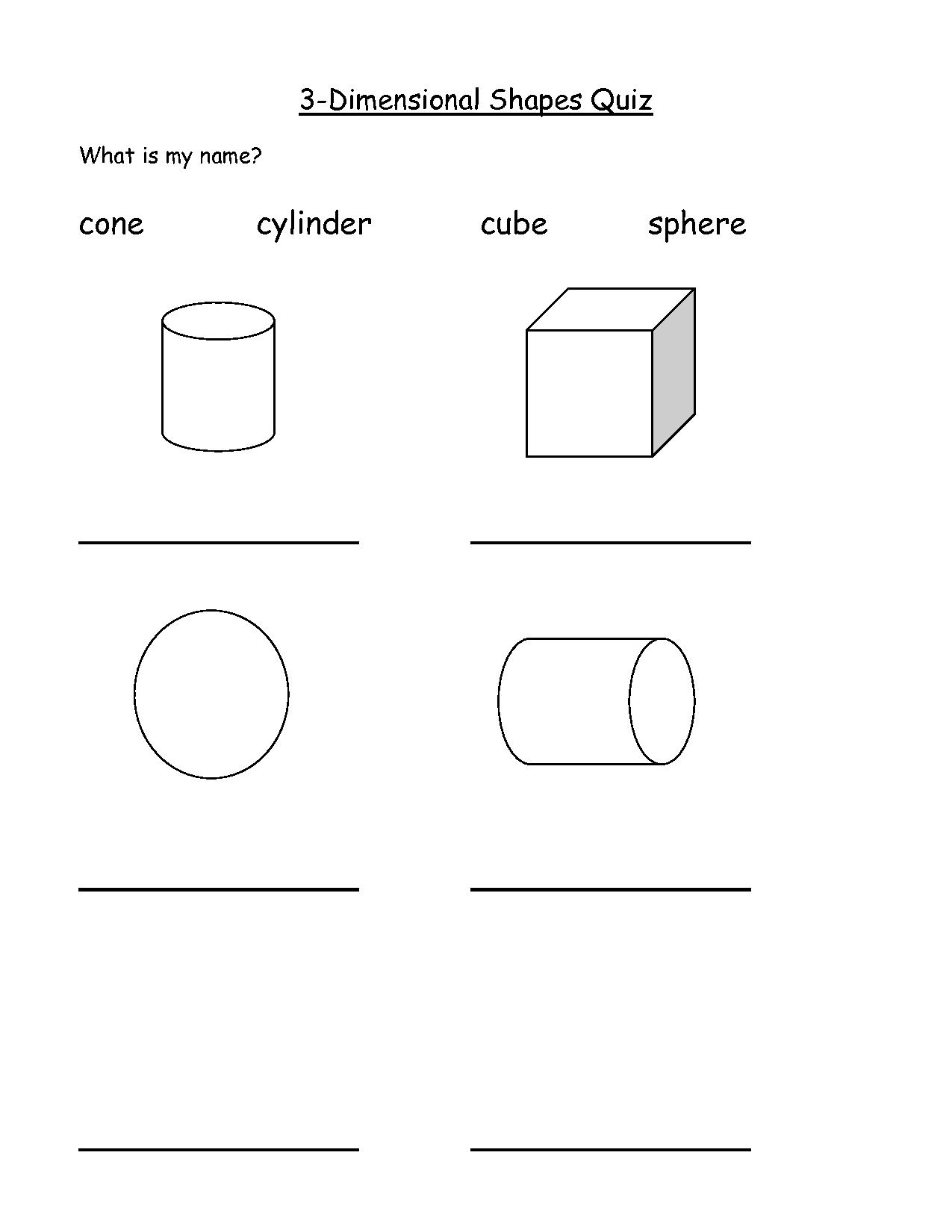 Three Dimensional Shapes Worksheets