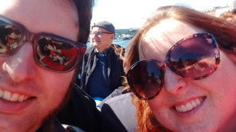 Too-sunny selfie. Also pictured: anonymous Italian tourist man.