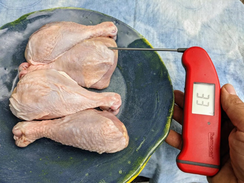 Using an instant read thermometer to check the level of defrosting in four pasture raised chicken breasts.