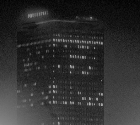 boston prudential building fog night time