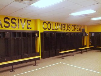 The meager Crew locker rooms don't offer luxury, but there's ample room.
