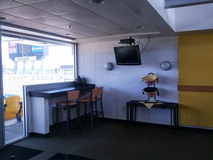 Inside one of the comfy executive suites at Crew Stadium.