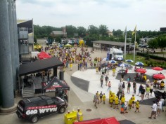 The Crew Kicker Plaza packed with pre-match activity.