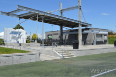 A shot of the main public pavilions in the Rapids' enormous field complex features concessions and bathrooms.