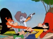 Screen shot of Bugs Bunny cartoon with Bugs playing the fiddle between two men from the Ozarks pulling each other's beard.