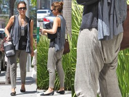Photo showing front and rear view of Jessica Alba wearing drop crotch pants.