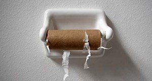 Image of an empty toilet paper roll.