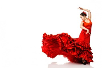 Image of a woman flamenco dancing in a tradiotional red dress.