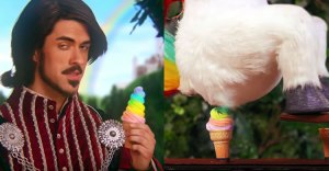Still shots from the Squatty Potty commercial featuring a unicorn pooping rainbow swirled something that looks like ice cream into an ice cream cone.