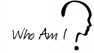Image with the words Who Am I followed by a question mark shaped like the profile of a person's face.