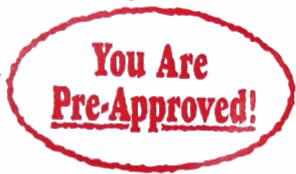 """Red oval with the words """"You Are Pre-Approved"""" written inside of it."""