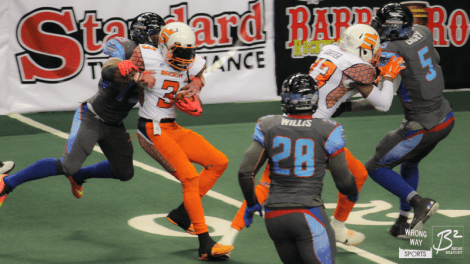 Thunder WR Perez Ashford makes a special teams tackle on Spokane returner Ruschard Dodd-Masters