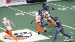 Thunder kick returner Duane Brooks made several huge returns against the Shock. This one ended at the Spokane 7-yard line.