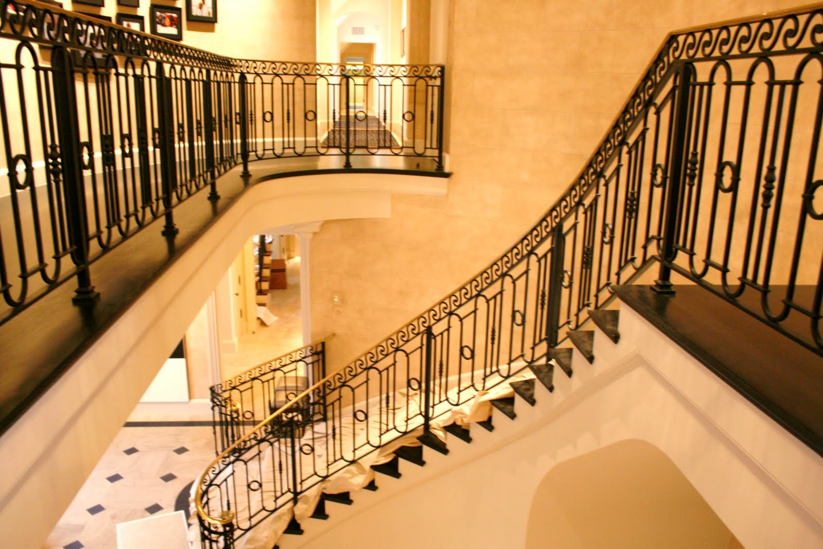 Wrought Iron Outdoor Stair Railings Made To Order | Wrought Iron Steps Outdoor | Wood Interior | Current | Iron Handrail | Staircase | Backyard