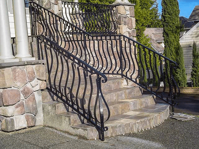 Wrought Iron Outdoor Stair Railings Made To Order | Outdoor Iron Stair Railing | Garden | Flat Iron | Decorative | Deck | Rustic