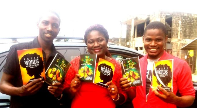 Albert Seraphin, author of 'THE CLARION CALL',  Ebidenyefa Tarila Nikade, author of 'THESE WORDS ARE NOT MINE' and Kukogho Iruesiri Samson, CEO/Publisher WORDS RHYMES & RHYTHM (LTD).