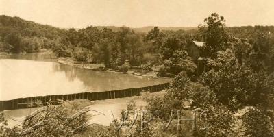 The mill and dam at the town of Oasis circa 1926