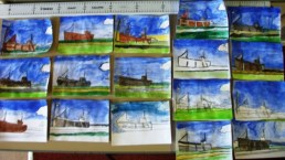 drawings of boat in the harbour at Burghead