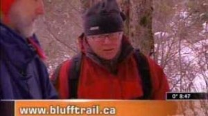 WRWEO members David Patriquin and Jim Carwardine talk to Cyril Lunney of CTV's Breakfast Television (Halifax, Nova Scotia) about what to bring when you go on The Bluff Wilderness Hiking Trail.