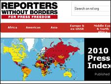 Bảng xếp hạng tự do báo chí của tổ chức Nhà báo không biên giới