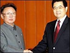 Hai lãnh tụ Hồ Cẩm Đào và Kim Jong-il