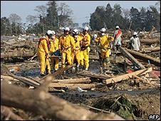 Equipes de resgate na província de Iwate (AFP/Getty)