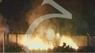 Imagen de TV  de complejo de Bin Laden