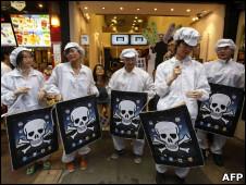 Protesto de estudantes contra a Foxconn em Hong Kong, no início de maio