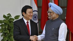 Chủ tịch Việt Nam Trương Tấn Sang và Thủ tướng Ấn Độ Manmohan Singh ở New Delhi