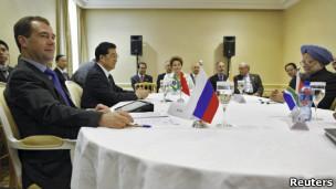 Reunião de líderes dos BRICS durante cúpula do G20 em Cannes, em novembro